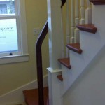 Mountain View stair, cherry with painted posts and balusters - 22