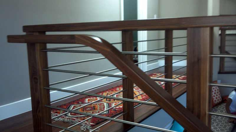Los Gatos Handrail, Walnut With Stainless Steel Balusters   14